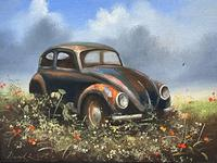 """Oil Painting """"Unloved Abandoned VW Beetle Car"""" Signed David Robert (4 of 27)"""