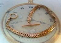 Antique Pocket Watch Chain 1890s Victorian French Large 10ct Rose Gold Filled  Albert (4 of 12)