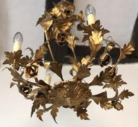 Antique French Birdcage Style Gilt Toleware Ceiling Light Chandelier With Roses (4 of 10)