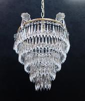 Italian Art Deco Five Tier Crystal Glass Chandelier - 1930s (6 of 6)