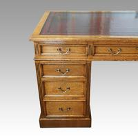 Victorian Oak Twin Pedestal Desk (8 of 12)