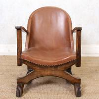 Carved Oak Leather Bucket Sofa & Chair (16 of 24)