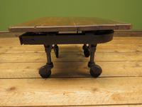 Small Industrial Antique Vono Cart Trolley Coffee Table with Bakelite Castors (9 of 17)