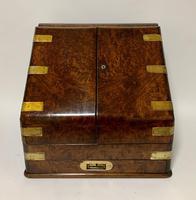 Victorian Burr Walnut Brass Bound Desktop Stationery Cabinet (4 of 15)