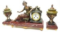 Wonderful French Figural Mantel Clock Lady Reclining 8 Day Mantle Clock with side Urns (9 of 12)