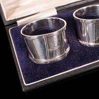 Antique Set of Napkin Rings, English, Silver, Tableware, Hallmark, Chester, 1921 (11 of 12)