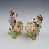 Fine Pair Minton Porcelain Sweetmeat Figures with Baskets Models 84 & 85 c.1830 (10 of 23)