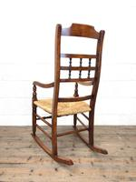 19th Century Rush Seat Rocking Armchair (9 of 9)