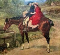 19thC English School - Horse & Hound Country landscape Oil Painting (8 of 11)