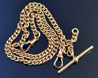 Antique 9ct Yellow Gold Double Albert Chain, Watch Chain, Curb Link (2 of 13)
