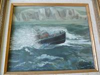 """Fine """"Lifeboat in Stormy Sea"""" oil on canvas- signed """"Cheyne """" (3 of 5)"""