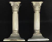 Pair of Square Base Late Victorian Silver Plate Corinthian Column Candlesticks (2 of 6)