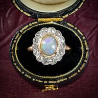 Antique Edwardian Opal Diamond Ring 18ct Gold Platinum 1.80ct Opal Circa 1910 (2 of 7)