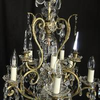 French Gilded & Crystal 10 Light Birdcage Antique Chandelier (7 of 10)