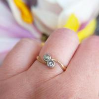 Antique Edwardian 18ct Gold Old Cut Diamond Toi Et Moi Ring (3 of 7)