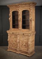 Carved Raw Oak Glazed Bookcase (4 of 21)