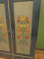 Antique Swedish Style Painted Folk Art Wardrobe Armoire (17 of 22)