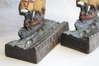 Pair of Painted Bronze Sailing Ship Doorstops or Bookends (4 of 10)