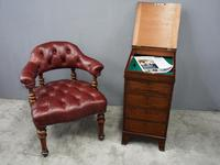 Victorian Walnut and Leather Office Chair (2 of 10)