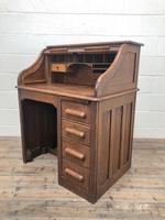 Antique Early 20th Century Oak Roll Top Desk (2 of 13)