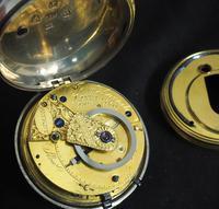 Antique Silver Pair Case Pocket Watch Fusee Escapement Key Wind Enamel Dial John Bernard London Liverpool (2 of 12)