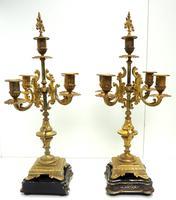 Superb Antique French Ormolu Mantel Candelabra Clock Set Embossed Decoration Finial 8 Day Striking (5 of 15)