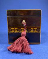 Victorian Rosewood Single Tea Caddy with Micro Mosaic Tunbridge Ware Inlay (9 of 11)