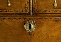 Queen Anne Oak & Walnut Chest of Drawers with running scroll (4 of 8)