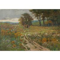 Early 20th Century German School Impressionistic Landscape with Cart (2 of 10)