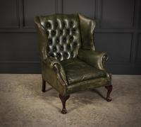 Vintage Green Leather Wing Chair (9 of 25)