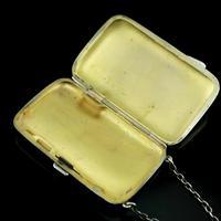 Antique Solid Silver Blue Enamel Guilloche Cigarette Case - Robert Chandler 1916 (8 of 15)