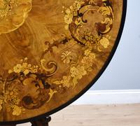 Victorian Walnut Marquetry Inlaid Circular Table (3 of 15)