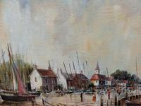 Large Oil on Canvas Dockside View Listed Artist Ira Englefield (11 of 12)