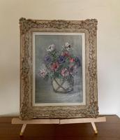 Signed Oil on Canvas Anemones in a Vase (5 of 7)
