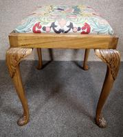 Carved Walnut Cabriole Leg Stool in the Queen Anne Style (6 of 8)