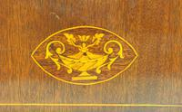 Impressive Solid Mahogany Arched Top Cased Timepiece Clock with Satinwood Inlaid Decoration (3 of 10)
