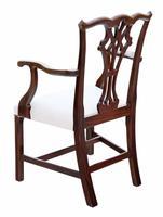 Set of 10 (8+2) Mahogany Georgian Revival Dining Chairs Ribbon Back c.1920-1950 (5 of 10)