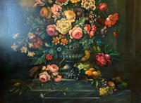 Dutch 18thc Manner RARE Huge Pair Vintage Fruit Floral Still Life Oil Paintings (17 of 23)