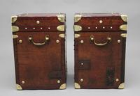 Pair of early 20th century leather bound ex army trunks (6 of 10)