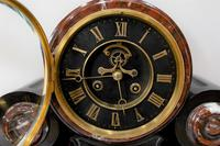 Majestic 1858 French Drumhead Striking Mantel Clock in Black Slate with Rouge / White Marble (2 of 6)