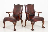 Pair of Chippendale Style Leather Gainsborough Chairs (5 of 8)
