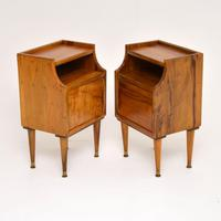 1960's Pair of Vintage Italian Walnut Bedside Cabinets (5 of 10)