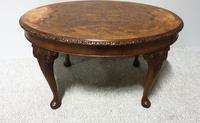 Burr Walnut Oval Coffee Table (2 of 6)