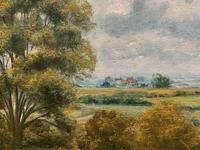 Original 20th Century Vintage English Farmland Country Landscape Oil on Canvas Painting (11 of 14)