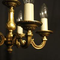 French 5 Light Gilt Brass Antique Chandelier (3 of 9)