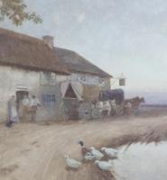 Tom Lloyd Watercolour 'Resting Outside The Inn' (3 of 4)
