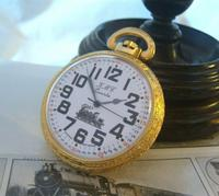 Vintage Pocket Watch 1970s Railroad 12ct Gold Plated West Germany Nos (3 of 11)
