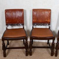 4 Carved Oak Leather Dining Chairs (6 of 12)