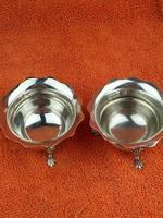 Pair of Sterling Silver Hallmarked Salt Cellar Pot with Blue Glass Liner (4 of 10)