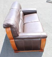 1960s 3 Seater Brown Retro Leather Sofa (2 of 3)